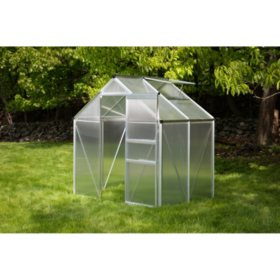 OGrow Aluminum Greenhouse - Walk-In 6' X 4'- With Sliding Door And Roof Vent