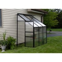 """Ogrow Aluminium Lean-To Greenhouse - 25 Sq. Ft. - With Sliding Door And Roof Vent - Measures 49.2"""" H x 74.6"""" W x 87.01"""" D"""