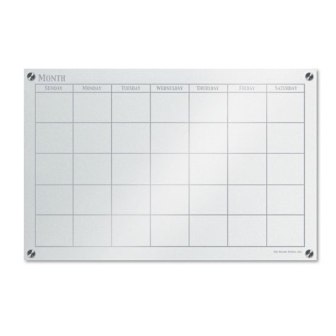 """The Board Dudes - GlassX Frosted Glass Dry Erase Board with Monthly Planner - No Frame - 35"""" x 23"""""""