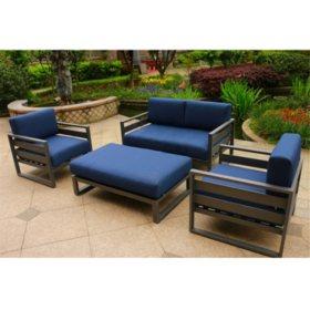 4-Piece Deep Seating Set (Blue Olefin Cushions)