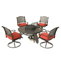 5-Piece Aged Bronze Aluminum Fire Chat Set with Swivel Rockers (Assorted Colors)