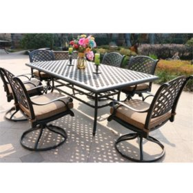 7-Piece Aluminum Dining Set with Swivel Dining Chairs