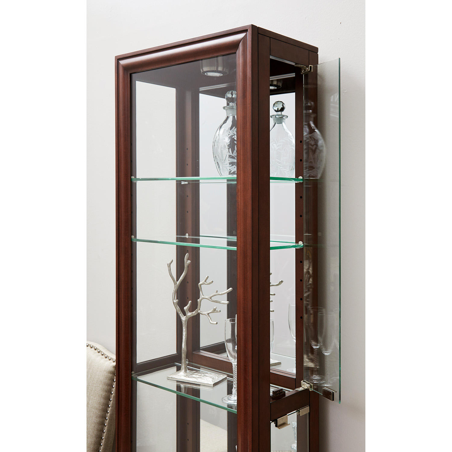 Home Meridian Village Springs Lighted Curio Cabinet (Modern Cherry)
