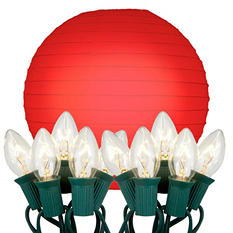 LumaBase 10 Count String Lights with Paper Lanterns (10 ct., Choose Your Color)
