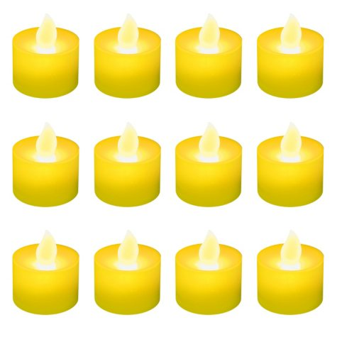 12 ct. LED Flickering Lights Flameless Candles - Amber