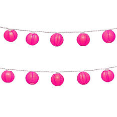 """3"""" Round Paper Lanterns with Electric String Lights - Pink - 10 ct."""