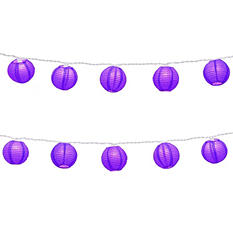 """3"""" Round Nylon Lanterns with Electric String Lights- Red- 10 Count"""