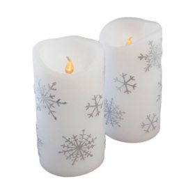 Flameless Flickering White LED Candles with Silver Snowflake Design- 2 Count