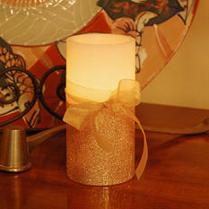 Gold Bow Battery-Operated Wax Candles with Timer (Set of 4)