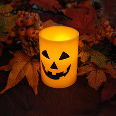 Jack-o'-Lantern Battery-Operated Wax Candles with Timer (Set of 4)