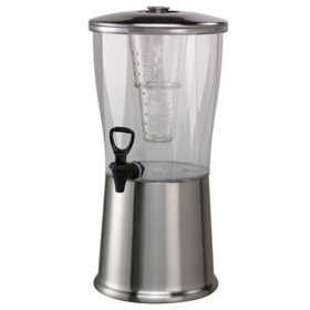 Round Cold Beverage Dispenser, Transparent/Brushed Stainless (3 gal.)