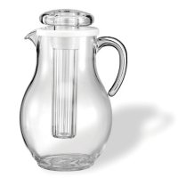 Service Ideas Acrylic Pitcher with Ice Tube, Smooth Body (3.3L)