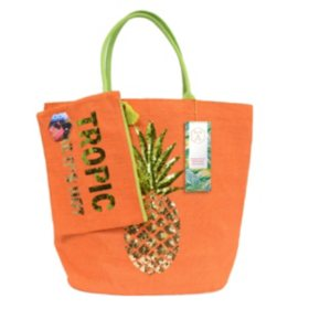 Olive & Hill Jute Tote Bag and Matching Carry-All Clutch Set
