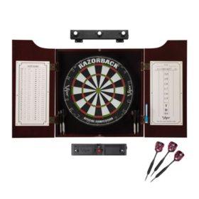 Viper Razorback Sisal Dartboard, Hudson Mahogany Cabinet, Shadow Buster Dartboard Lights & Laser Throw Line