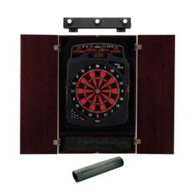 Viper Solar Blast Electronic Dartboard, Metropolitan Mahogany Cabinet, Dart Mat & Shadow Buster Dartboard Light Bundle