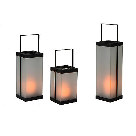 Glass Lanterns with Candles, Set of 3