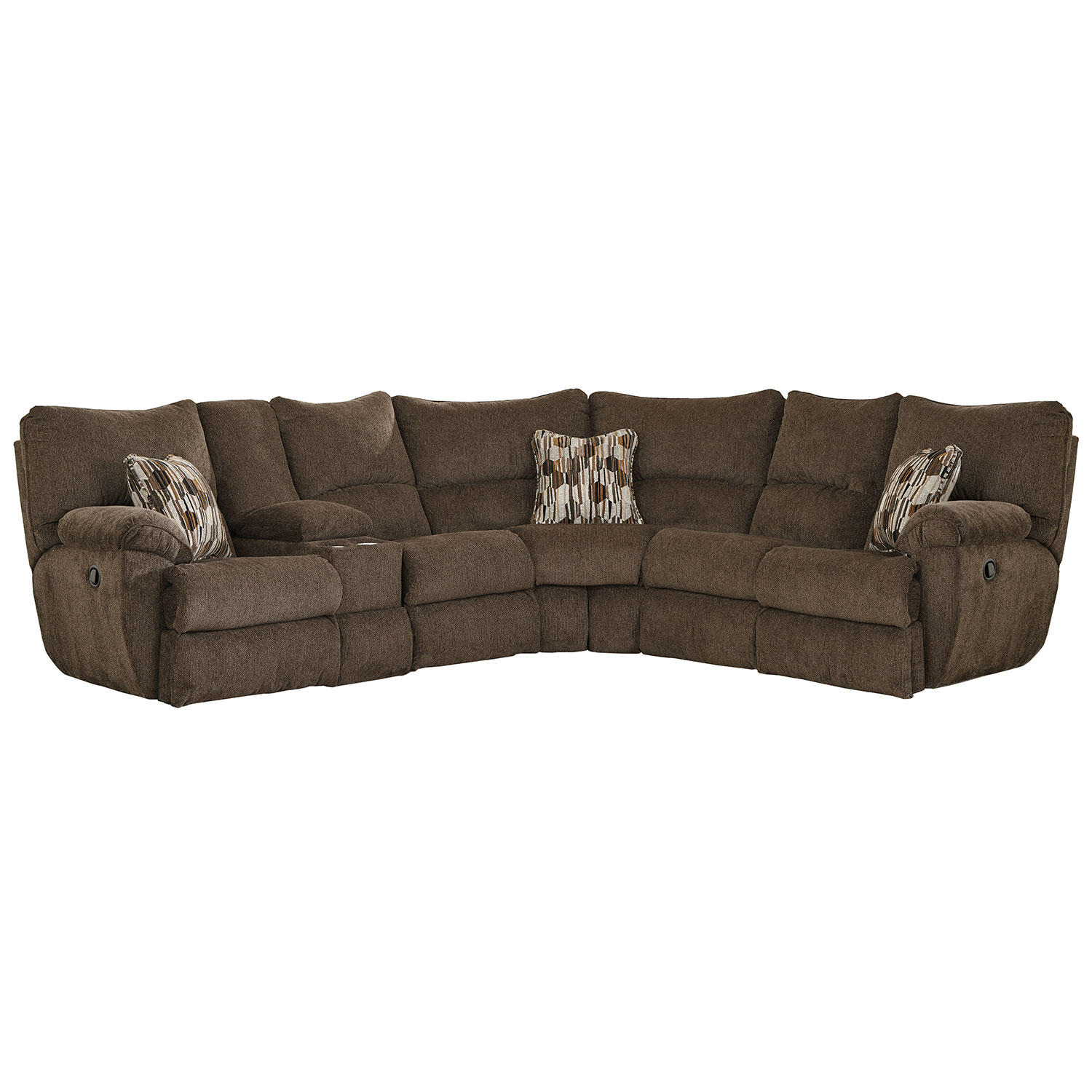 Elliot Sectional with 3 Lay Flat Reclining Sectional Sofa