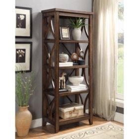 "Morgan 4 Shelf Bookcase, 70"", Walnut Finish"