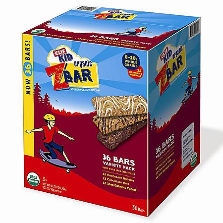 CLIF Kid Organic ZBar Whole Grain Energy Snack, Variety Pack (1.27 oz., 36 ct.)