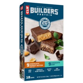 CLIF Builders 20g Protein Bar, Variety Pack (2.4 oz.,18 ct.)