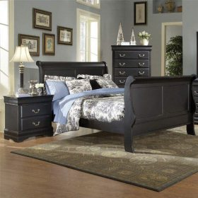 Louis Philippe Queen Bed & Nightstand Set - Black