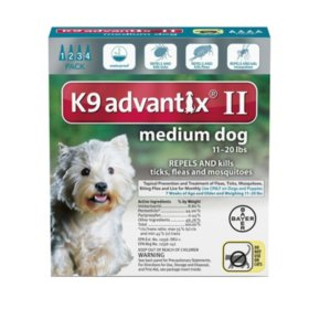 K9 Advantix II Flea & Tick Topical Treatment, 4 ct. (Choose your Size)