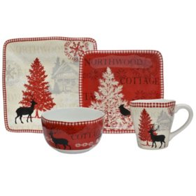 222 Fifth Northwood Cottage Red 16-Piece Dinnerware Set