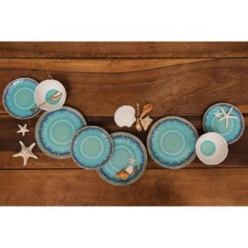 12-Piece Sea Splash Melamine Dinnerware Set