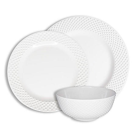 222 Fifth Solid Swiss Dots White 12-Piece Melamine Dinnerware Set