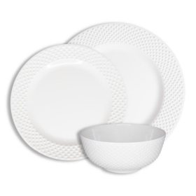 222 Fifth Solid Swiss Dots White 12-Piece Melamine Dinnerware Set