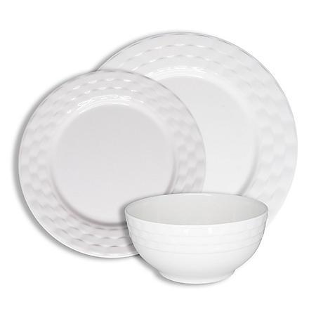 222 Fifth Basket Weave White 12-Piece Melamine Dinnerware Set