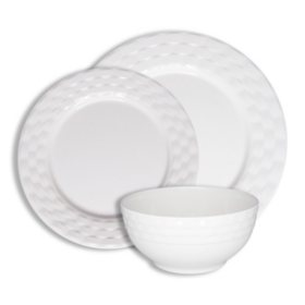 222 Fifth Basket Weave White 12-Piece Melamine Dinnerware Set
