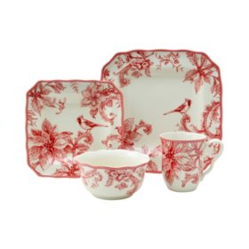 222 Fifth Christmas Lane Red 16-Piece Dinnerware Set