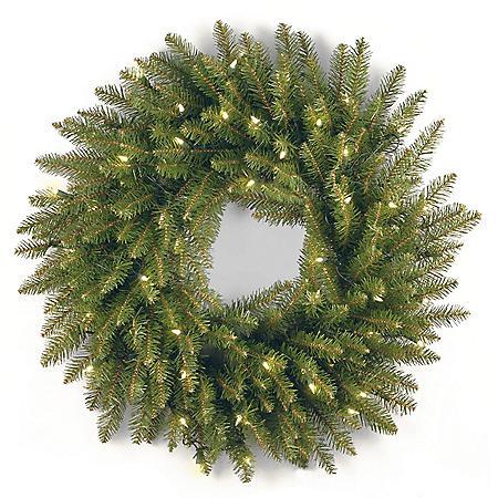 "24"" Dunhill Fir Wreath with Clear Lights"