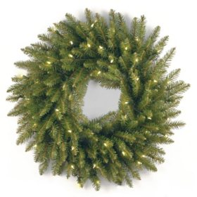"24"" Dunhill Fir Wreath with Clear Lights"