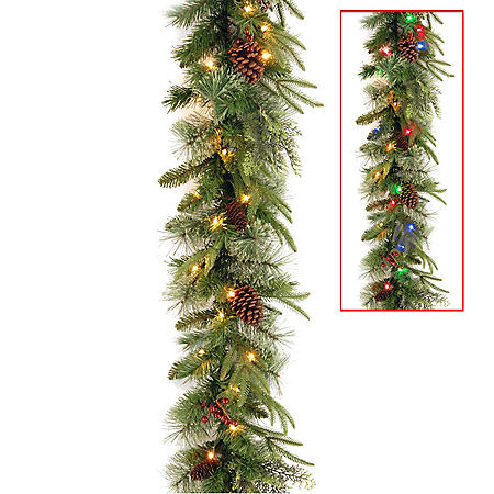 National Tree Company 9' Battery-Operated Pre-Lit Colonial Garland