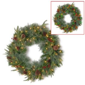 "National Tree Company 24"" Battery-Operated Pre-Lit Colonial Wreath"