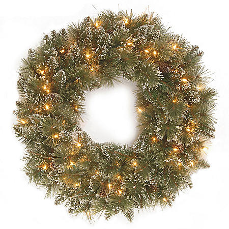 "National Tree Company 24"" Battery-Operated Pre-Lit Glittery Bristle Pine Wreath"