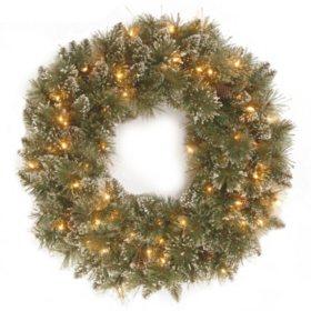 "National Tree Company 24"" Battery-Operated Pre-Lit Glittery Bristle Pine Wreath"