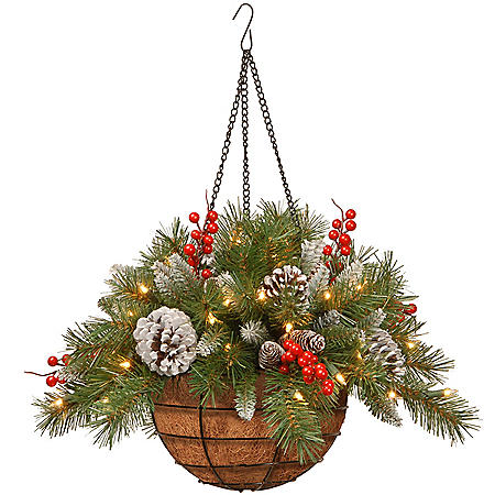 """20"""" Frosted Berry Hanging Basket with Battery-Operated Warm White LED Lights"""
