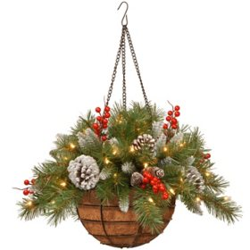 "20"" Frosted Berry Hanging Basket with Battery-Operated Warm White LED Lights"