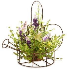 "National Tree Company 11.5"" Lavender Iron Kettle Decor"