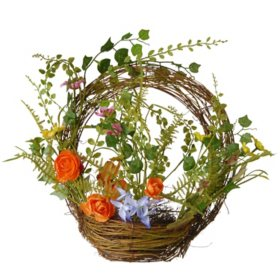 """National Tree Company 16"""" Spring Wreath with Basket"""
