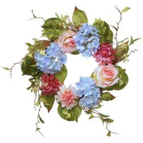 """National Tree Company 23"""" Dahlia, Hydrangea & Rose Wreath"""