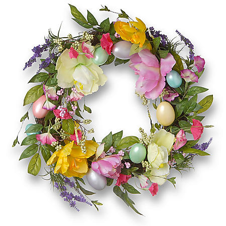 "20"" Easter Eggs and Tulips Wreath"