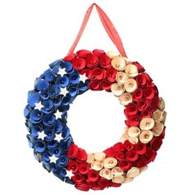 """National Tree Company 16"""" Patriotic Wreath with Wood Curl Flowers"""