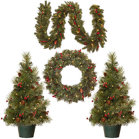 Evergreen Assortment with Battery-Operated LED Lights