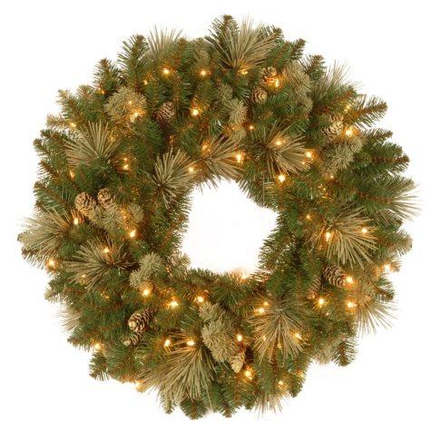 "National Tree Company 24"" Battery-Operated Pre-Lit Carolina Pine Wreath"