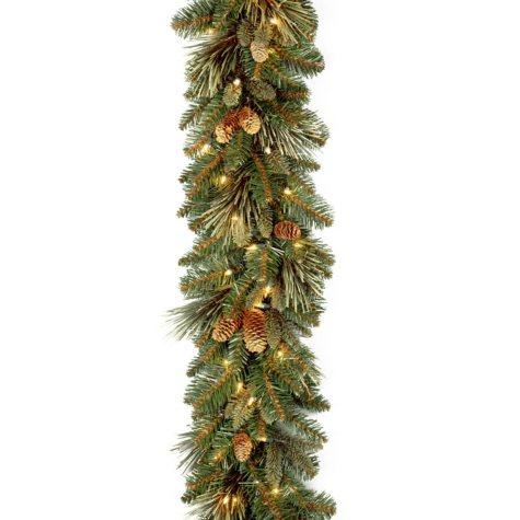 National Tree Company 9' Battery-Operated Pre-Lit Carolina Pine Garland