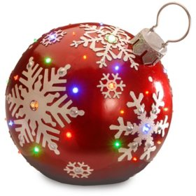 "National Tree Co. 18"" Pre-Lit Ball Ornament with Snowflake Outdoor Decoration"